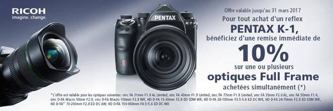 Pentax K-1 10% de remise sur une ou plusieurs optiques achetées simultanément