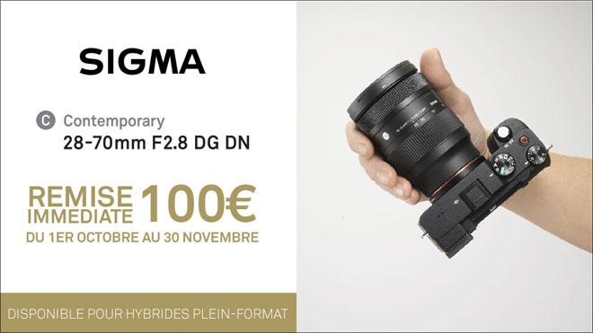100€ de remise immédiate pour l'achat d'un objectif Sigma 28-70mm F2.8 DG DN Contemporary jusqu'au 30/11