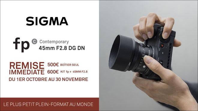 Jusqu'à 600€ de remise immédiate pour l'achat d'un Sigma fp, du 01/10 au 30/11