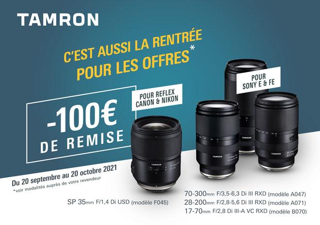 Jusqu'au 21 octobre, profitez de 100€ de remise sur une sélection d'objectifs Tamron